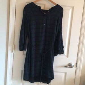 Plaid Loft Dress with Bell Sleeves